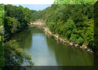 The Cahaba River, viewed from bridge at Pratt's Ferry (County Highway 65)