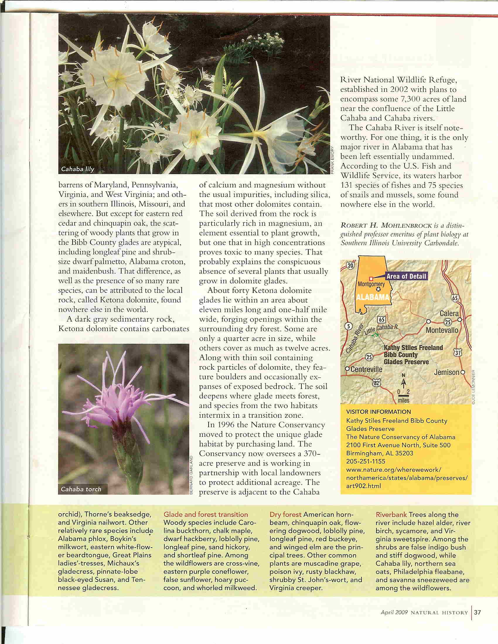 "Second page, Robert Mohlenbrock's April 2009 edition of his ""This Land"" series of articles in Natural History magazine: The Magic Rock Garden"